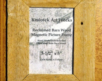 magnetic reclaimed barn wood picture frame 3 12 x 5