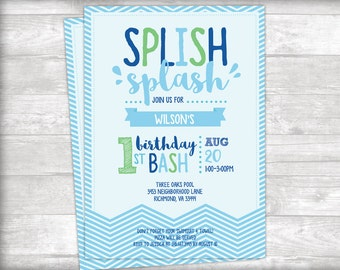 Splish Splash Birthday Bash Pool Party Invitation Printable