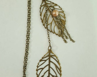 Falling Leaves Choker, Lariat Brass  Necklace