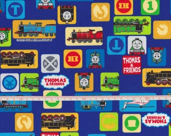 1/2 Yard Thomas and Friends Tank Engine Print Cotton Fabric