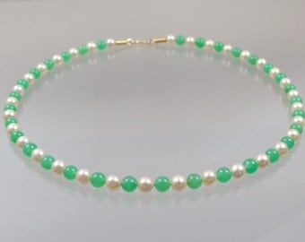 Chrysoprase necklace with Pearl 585 / - Gold Green unique forged master work