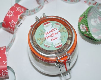 Christmas muffin mix, cranberry and white chocolate, baking kit for Xmas, clip top jar with muffin ingredients, Christmas baking gift,
