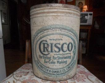 Great 1930ish Crisco 50 lb. Metal Tin