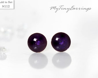 6mm Purple Tiny Stud  Earrings Wine Color Round Epoxy Resin Mini Gift for Her - Gold Plated Stainless Steel Posts 112