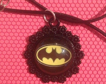 Floral Batman necklace