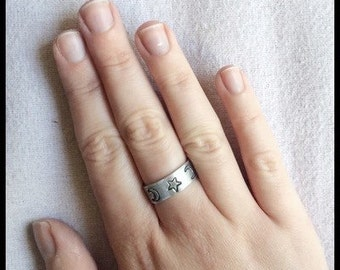 Moon and stars hand stamped ring