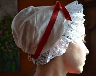 CUSTOM 18th century Linen Cap With Lace Border