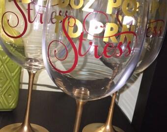 Hand Made Nurse Doctor Wine Glass 8oz PO TID PRN Stress Gift