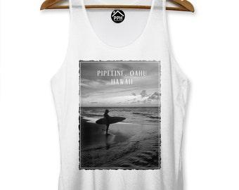 Pipeline Oahu Hawaii Vest Surf Mens Singlet Sleeveless Tank Famous Surfing PP117