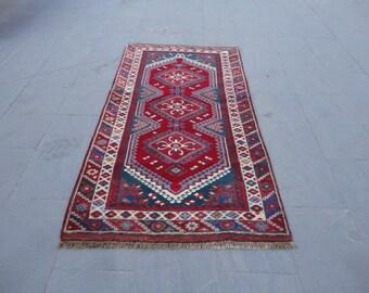 Vintage rug,Area rug,boho rug,vivid color rug,67 x 37 inches,long pile rug,living room rug,turkish oushak rug,hand made Turkish rug,peerless