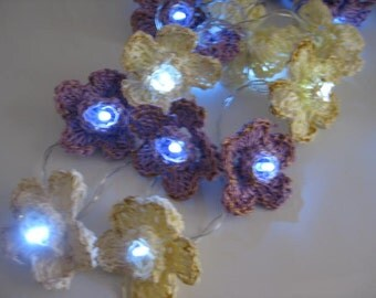 Led String Fairy Lights - Vintage cream/purple crochet flowers,novelty lights, party lights, weddings, battery operated