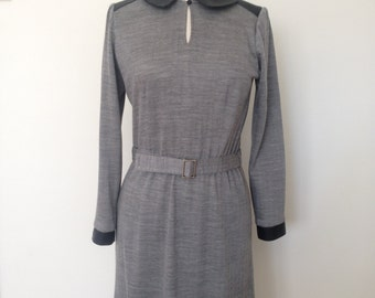 Winter wool jersey dress, faux leather trim detail