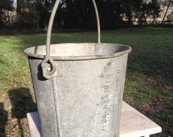 Vintage Heavy Galvanized Bucket Farm and Dairy Pale