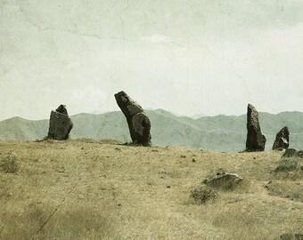 Zorac Karer Photo, Armenia Photo Print, Armenia Landscape, Sepia Mountain print, Sightseeing Print, Mountain Rock Print, Mountain Photo
