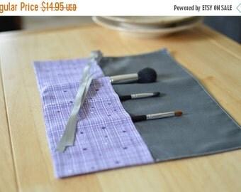 SALE Purple and Gray Sheek Brush Roll, Makeup Brush Roll, Brush rollup, Brush Storage, Cosmetic Storage