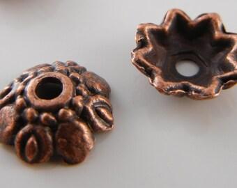 Antiqued Copper Lotus Eye 9mm Bead Caps (6pcs)