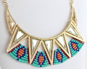 Tribal Statement Necklace /Ethnic Necklace / Statement Necklace/ Boho Necklace / Bohemian Jewelry Chunky Necklace and Earrings Set