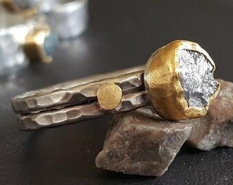 Handmade Rough Diamond 24K Yellow Gold & 925 Silver Roman Style Ring / 16QC0102