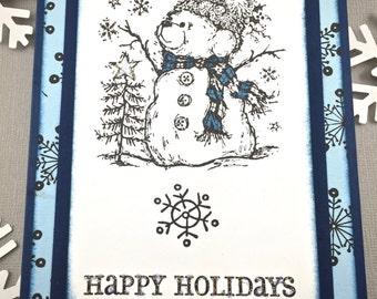 Snowman Card - Happy Holiday Card - Snowflake Card -  Holiday Card - Whimsical Holiday Card - Christmas Tree Card