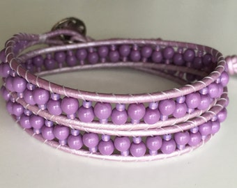 Lovely Lavender Wrap Bracelet, Beaded Bracelet, Unique Beaded Bracelet, Boho Chic Jewelry