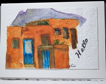 Hand Painted Greeting Card, Note Card, Blank Card, Original watercolor card, Southwest Adobe Homes, Hello Card, Free Shipping