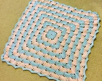 Custom colours crochet shell/virus patterned baby blanket