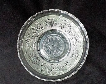 Vintage Anchor Hocking Clear Sandwidh Glass Bowl 6 1/2 Inch Scalloped Edge, Collectible Anchor Hocking Sandwich Glass 1939-64 Excellent