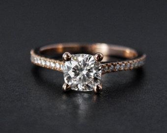 Forever One Moissanite Ring - 4 Prong Cushion Cut Moissanite - Rose Gold, Pave Diamonds