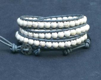 Four wrap beaded bracelet, white howlite bracelet, ladder stitch wrap bracelet