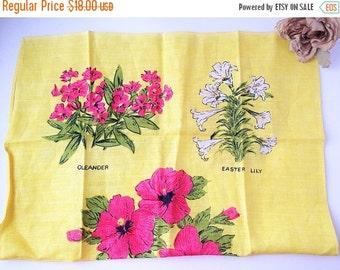 SALE Vintage Flower Tea Towel / vintage tea towel / vintage teatowel / vintage kitchen towel / vintage dish towel / vintage dish cloth
