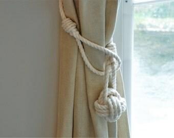 White Cotton Rope Monkey Fist Knot Curtain Tie- Backs / Rope Drape Hold backs/ Shabby chic window treatment / Curtain tiebacks/ nautical tie