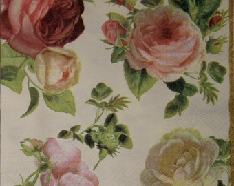 2 Paper Napkins for decoupage,Paper Napkin with Graceful Pink Roses,Paper Napkins,Decor Collection,Provence,Scrapbooking Paper,Art decorNr61