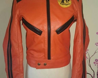 Leather ladies Motorcycle jacket high quality. Mint condition made by Cuirs of France retro vintage orange one off limited edition size 42