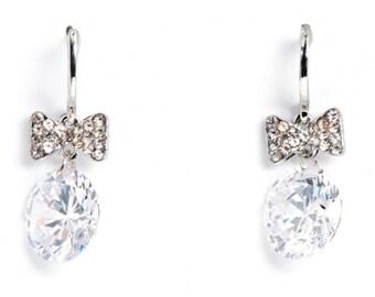 Sparkling Jewellery Crystal Bow Earrings as seen on Coronation Street