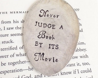 Never Judge a Book by its Movie Vintage Spoon Bookmark Upcycled Whimsical Love Film Lover Fairy Tale Book Bookworm Graduation