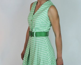 Vintage 1960's Mint Green houndstooth sleeveless dress with matching belt