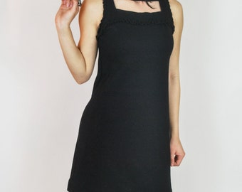 Vintage 1960's Gay Gibson Black Ruffle mini dress with cut out