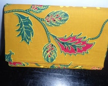African Wax/Print Clutch Hand bag, colourful Floral yellow-maroon-white-green African Fabric, evening Clucth bag,  with inner pocket