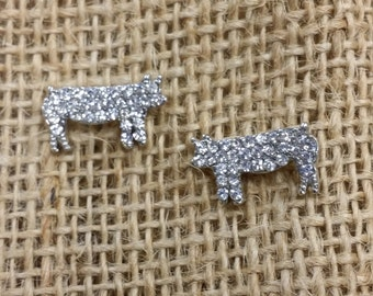 Show Pig Crystal Post Earrings