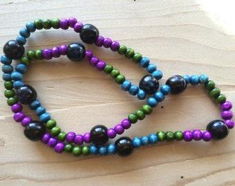 Jewel Toned Beaded Necklace