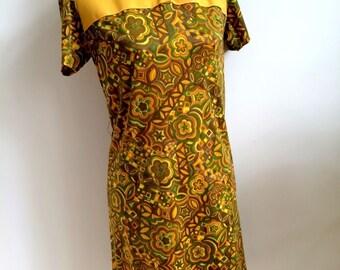1960's Shift Dress (Size: Approx. UK 12 - 14)