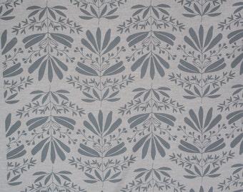 No. 9 Handprinted fabric panel light grey ink printed on organic ash fabric
