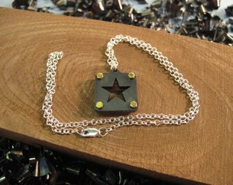 Star pendant - industrial - stainless - brass