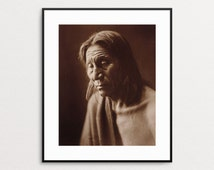 Native American Art - Edward Curtis Print - Vintage Photography - Native American Wall Art - Home Decor - American Indian - Portrait