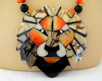 "Vintage Lee Sands Lion Statement Pendant Necklace Beaded Boho Chic 20"" Free U.S. Shipping"