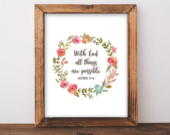 With God All Things Are Possible, Matthew 19:26, Bible Verse Artwork, Christian Wall Art, Religious Wall Art, Scripture Quote