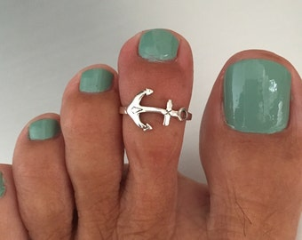 Sterling Silver Anchor Toe Ring, Midi Ring, Pinky Ring, Knuckle Ring, Adjustable Size