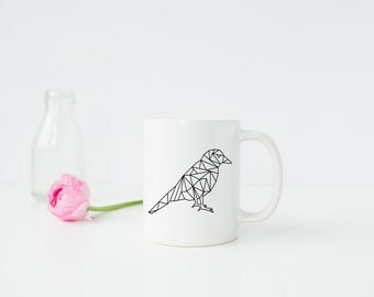 Chic Geometric Black Bird 11oz Ceramic Mug