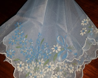 Vintage Sheer Blue Handkerchief with Flowers