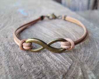 Infinity bracelets,Real leather bracelets,Men bracelets,Infinity leather